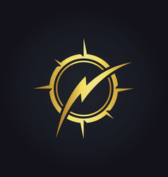 Thunder bolt gold logo vector