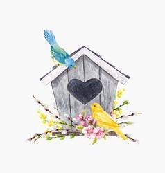 Watercolor birdhouse with birds vector