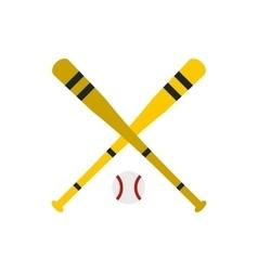 Baseball ball and bat icon flat style vector image