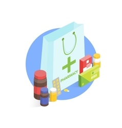 Modern pharmacy and drugstore concept isometric vector