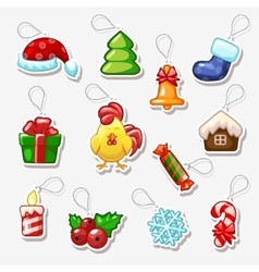 Christmas and new year stickers holiday symbols vector