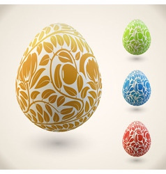 Easter egg with color floral ornament vector image