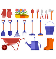 colorful garden icons set vector image