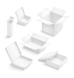 White box collection isolated on white background vector
