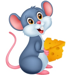 Cute mouse holding a piece of cheese vector