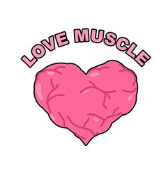 Love muscle Strong Athletic heart with muscles and vector image