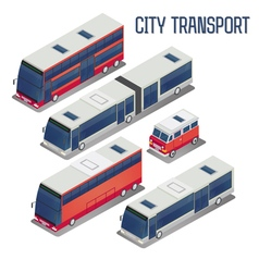 Isometric city transportation bus set vector