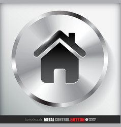 Circle metal home button vector