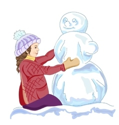 Girl and a snowmen vector