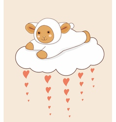 Lamb cloud heart vector
