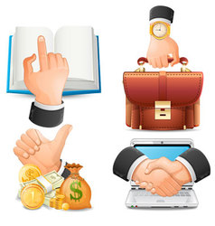 Achieve the goal in business handshake icons vect vector