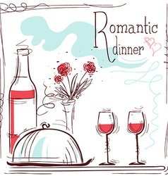 Romantic dinner card with wine and food vector image