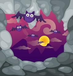 A cave and bats vector