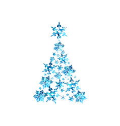 abstract blue watercolor christmas tree vector image vector image