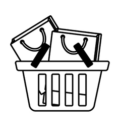 Basket shopping many bag gift outline vector