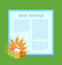 Beer festival poster with tasty food and beverage vector