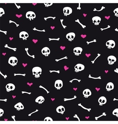 Cartoon Skulls with Hearts on Black Background vector image