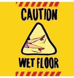 Caution wet floor female feet vector
