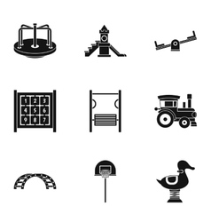 Children rides icons set simple style vector
