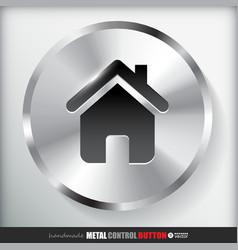 Circle metal home button vector