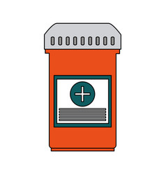 Color graphic bottle with tap and pills vector