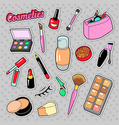 Cosmetics beauty fashion makeup elements vector