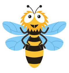 cute bee flying on white background vector image vector image