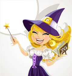 Cute young witch with magick wand and book vector