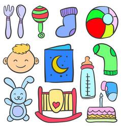 Doodle of baby set element vector