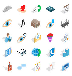 Engineers icons set isometric style vector