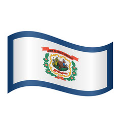 flag of west virginia waving on white background vector image vector image