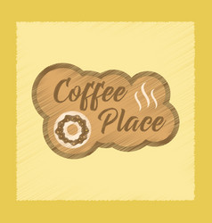 Flat shading style icon coffee place logo vector