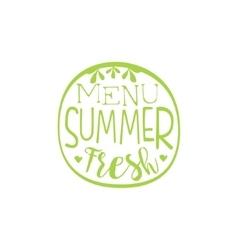 Fresh Menu Summer Calligraphic Cafe Board vector image vector image