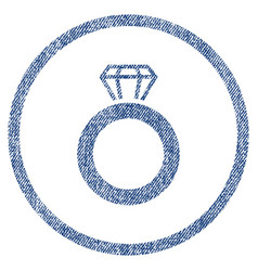 gem ring rounded fabric textured icon vector image vector image