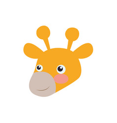 Giraffe cartoon head childish vector