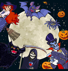 halloween characters on full moon background vector image vector image