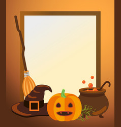 Halloween photo frame with traditional symbols vector