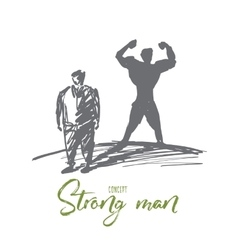 Hand drawn fat man with strong body shadow behind vector image vector image