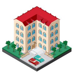 Isometric multistory building courtyard with vector