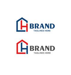 letter ch real estate logo vector image vector image