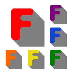Letter f sign design template element set of red vector