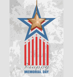 Memorial day card gold star on a concrete slab vector