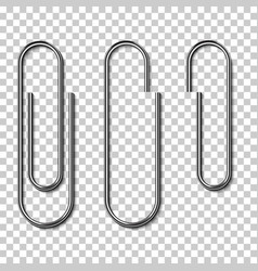metal paperclips isolated and attached to paper vector image vector image
