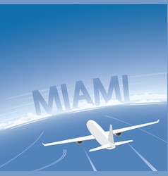 miami skyline flight destination vector image vector image
