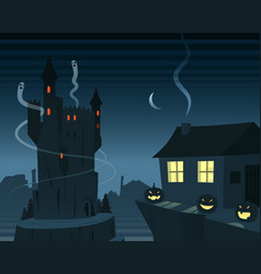 Mysterious and spooky night scene vector