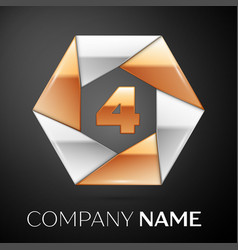 Number four logo symbol in the colorful hexagon on vector