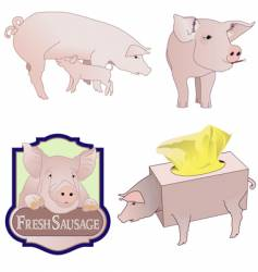 pig collection vector image
