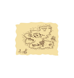 Pirate treasure map sailing ship drawing vector