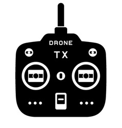 Rc drone quadcopter tx transmitter black icon vector