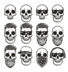 set of pixel skulls vector image